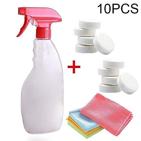 Crewell auto strumento di pulizia set Strofinaccio flacone spray detergente per vetri concentrato con effervescente casa (kit di autolavaggio)