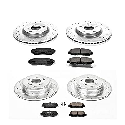 Power Stop K5858 Front & Rear Brake Kit with Drilled/Slotted Brake Rotors and Z23 Evolution Ceramic Brake Pads: Automotive