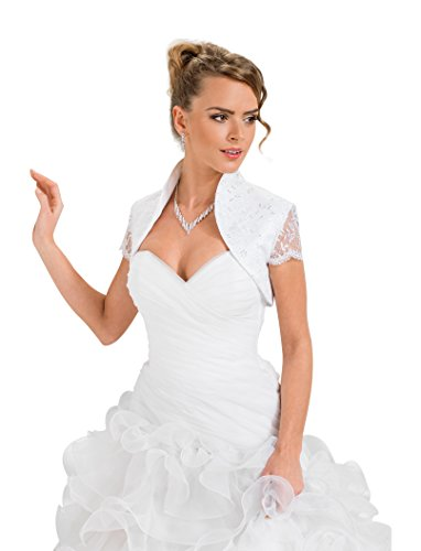 Ossa Women Summer Wedding Bride Satin Soft Lace Bolero Shrug Jacket White