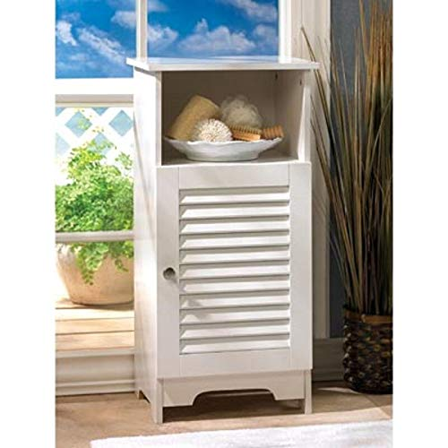 AK Energy White Shutter Shabby Cabinet End Side Bedside Table Nightstand Upper Drawer Shelf (White Cabinets Bedside Sale)