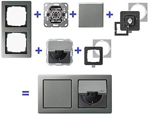 garantía de 5 años en ebrom® * * Enchufe Gira, Juego Completo (klappsteck Caja) + interruptor de luz + 2 marcos 021221 resistente al agua, IP44, acero inoxidable) + cambio Interruptor de encendido/apagado 010600 + juntas: Amazon.es: Iluminación
