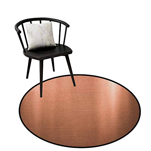 Circular Non-Slip Mat Printed Abstract,Indusrial Plate Facade Illustration Tough Construction Element Modern, Pale Coral Chocolate,Artwork Print Anti-Skid Area Rug 35