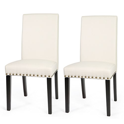Barton Medium Size Leather Stylish Dining Chair Furniture with Nailhead Trim, Set of 2 (Cream)