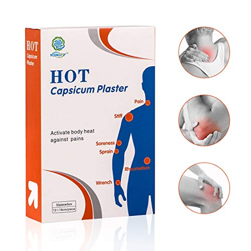 KONGDY 50 Counts Hot Capsicum Plaster, Hot Pain Relief Patches for Back/Shoulder