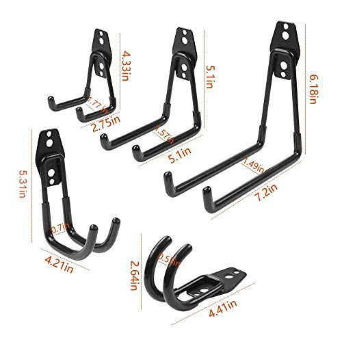 WINSOON Heavy Duty Double Utility Hook/Wall Mount Hung Organizer Packs/Garage Mega Strong Holder/Bicycle Storage Space Saver/Hanger Rack Pack (4 x Medium U Shape, Black) by WINSOON (Image #6)