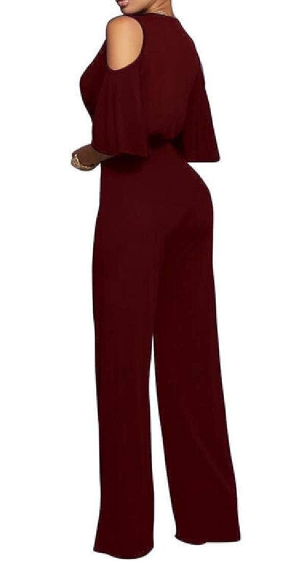 KLJR Women Cold Shoulder Wide Leg Half Sleeve V Neck Club Romper Jumpsuits