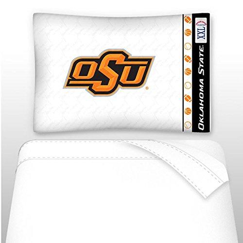 NCAA Oklahoma State Cowboys Micro Fiber Sheet Set, Twin, White Oklahoma State Sheet