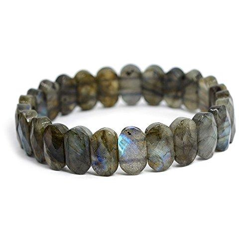 14mm Faceted labradorite oval gemstone beads stretchable bracelet 7.5