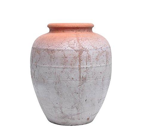 New Ceramic Planter (Benzara Well-Designed Urn Shaped Ceramic Planter, White/Orange)