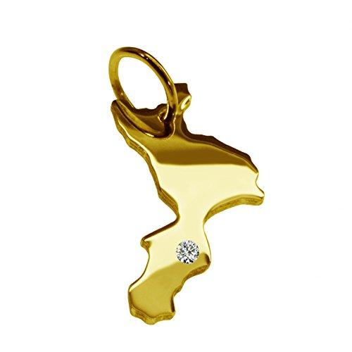 Calabre avec un pendentif brillant 0,015ct sur votre wunschort en or jaune 585
