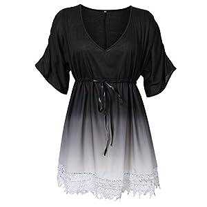 Gradient Lace V Neck Joint Sleeve Women's Knee Length Dress