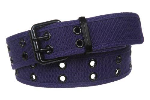 Double Hole Grommets Canvas Web Belt, Purple | m (33