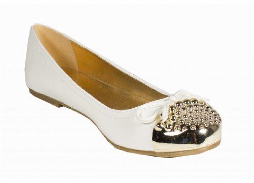 dulce! Soda Mujeres Gold Stud Cap Toe Slip-on Ballet Flats Con Lindo Bowtie En Charol Blanco