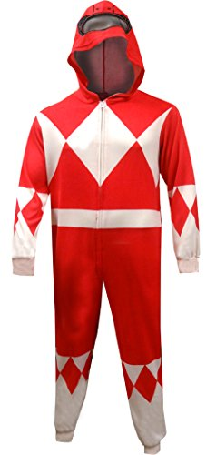 Power Ranger Suits Adults (Power Rangers Red Ranger Adult One Piece Pajama Union Suit (X-Large))
