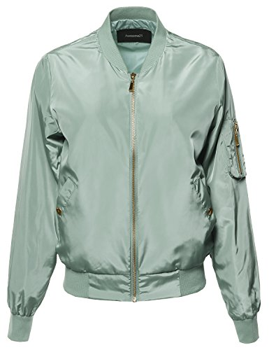 Awesome21 Solid Long Sleeves Zipper Closure Pocket Army Flight Bomber Jacket Dusty Sage ()