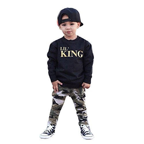 Doubt Movie Costumes (2 Pcs/Set Toddler Kids Baby Boy Letter Print Long T-shirt Tops + Camouflage Pants Outfits Sets (2T, Black))