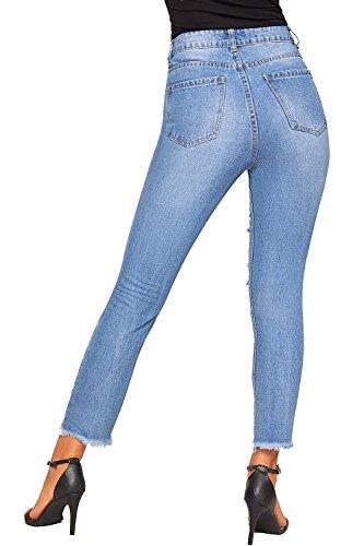 Mom Toile 42 WearAll Dchirs 34 Large Jambe Nouveau Jeans Jean Stonewashed Afflig Femmes Bleu Dames Extrme De XZqZAF8