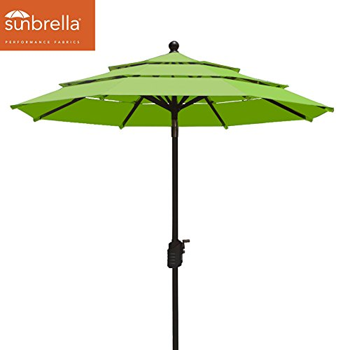 Sunbrella Macaw (EliteShade Sunbrella 9Ft Patio Outdoor Table Umbrella 3 Layers with Ventilation,Bonus weatherproof Cover (Sunbrella Macaw Green))
