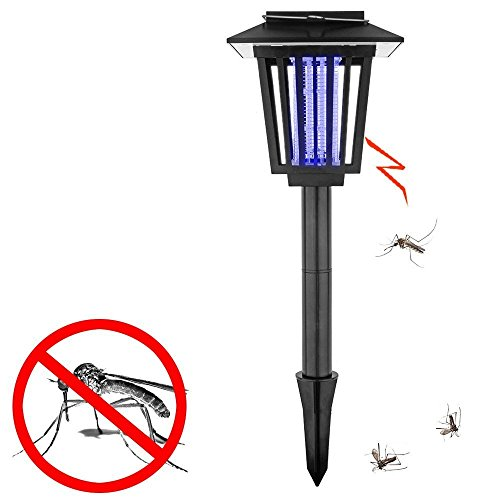 SZMYLED Solar-Powered Outdoor Bug Zapper/Mosquito Killer-Hang or Stick in the Ground-Dual Modes-Bug Zapper Garden Light Function