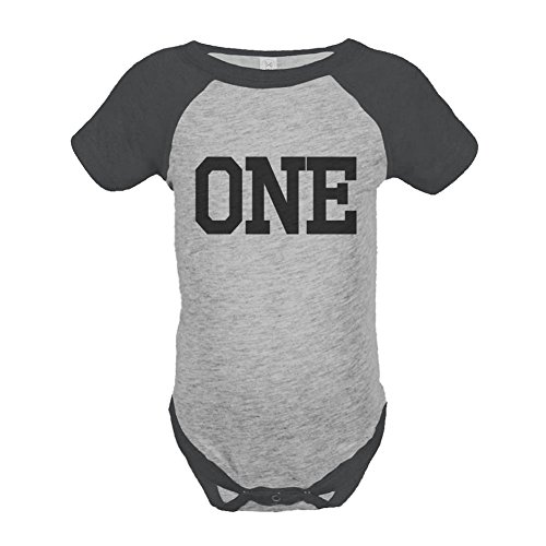Custom Party Shop Boy's First Birthday Vintage Baseball Tee Onepiece 12 Months Grey and Black 1st Birthday Baseball