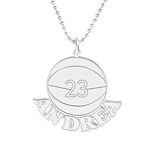 Ouslier 925 Sterling Silver Personalized Unisex Basketball Name Necklace Custom Made with Name and Number (Basketball)