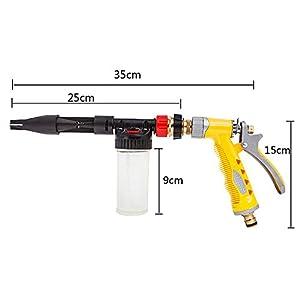 Cleaning Gun Sprayer,Spevert High Pressure Adjustable 2 in 1 Car Washing Foamaster Snow Foamer Car Cleaning Wash Gun Sprayer Hose Sprayer With Heavy Duty Bottle - Yellow