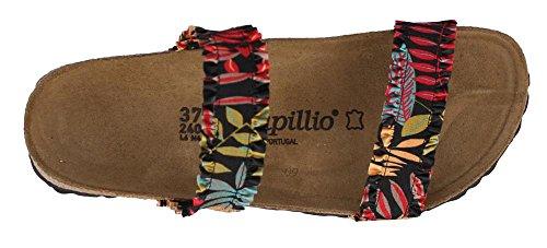 Birkenstock Womens, Curaco Slide Sandals Flower Frill Black Textile