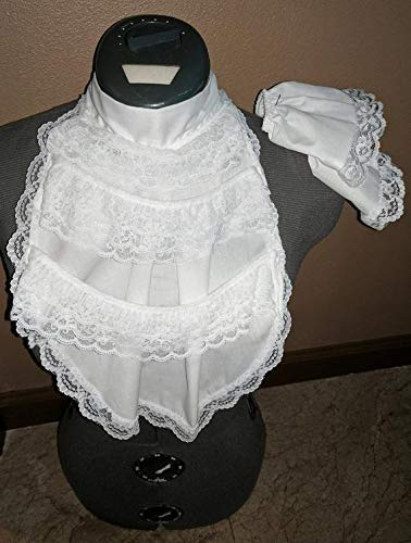 Mens 1800's White Lace Ruffled Renaissance Jabot Pirate Cravat Costume Collar Wrist ()