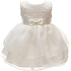 Baby Girls Dresses Christening Wedding Pageant Bow Formal Dress Ivory White (6M/6-12months)