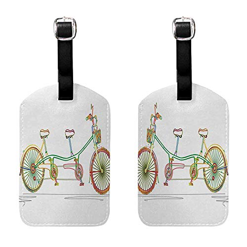 Suitcase Name Bicycle,Colorful Tandem Bicycle Design on White Background Pattern Clipart Style Print,Multicolor Seal & Steel