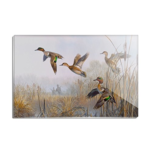(Green-Winged Teal Ducks Taking Flight Hunters Hunting Rectangle Acrylic Fridge Refrigerator Magnet)