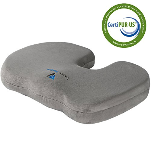 Vaunn® Medical Petite Coccyx Seat Cushion with Removable and Washable Cover, Alleviates Tailbone and Sciatica Pain, Supports and Contours to Lower Back