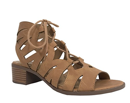 Image of DALLES! Women's Open Toe Cutout Lace Up Stacked Heel Sandals, Tan Nubuck Leatherette 9 M US