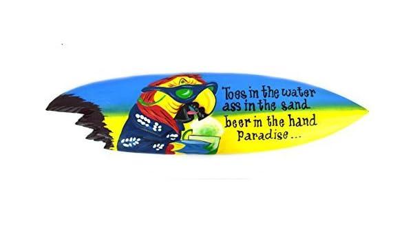 SIGNS - Tabla de Surf con Punta de Loro en el Agua como en la Arena, Tabla de Surf de Madera con tiburón: Amazon.es: Hogar