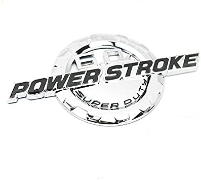 Set OEM Black Red 6.0L Power Stroke Super Duty Plus F-250 Lariat Super Duty Fender Emblem 3D Nameplate Badge Powerstroke 3D Logo Replacement for F250 Pickup