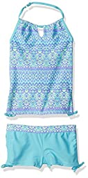 Free Country Little Girls\' Calypso Adj Neck Halter with Boy Short, Wave Blue, 5