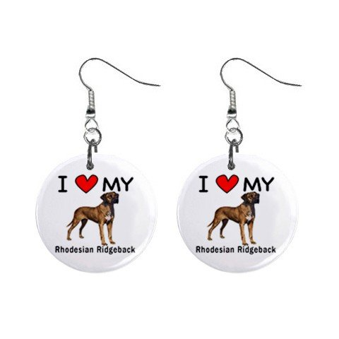 I Love My Rhodesian Ridgeback Button (Rhodesian Ridgeback Earrings)