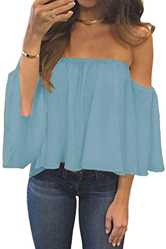 BLUETIME Women Chiffon Ruffles Sleeves Off Shoulder Tops Casual Shirt Blouses Summer Casual Sexy Tops (XL, Light Blue) (Blue And White Off The Shoulder Top)