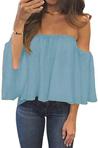 BLUETIME Women Off The Shoulder Plus Size Tops Boho Casual Chiffon Ruffle Bell Sleeve Loose Blouse Shirts (XXL, Light Blue)