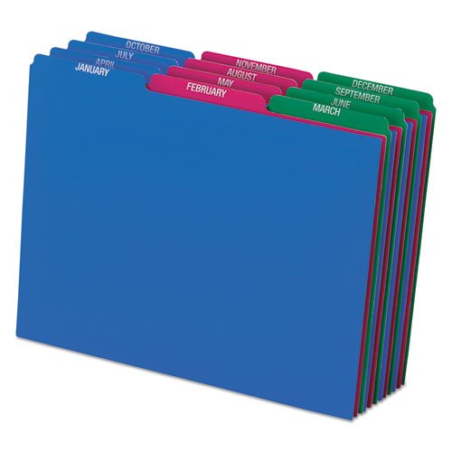 File Guide,1/3 Cut Top Tab,Monthly,LTR,Poly,25/ST,AST, Sold as 1 Set