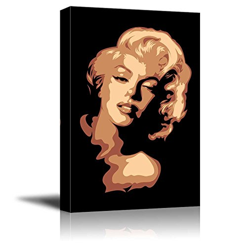 Canvas Prints Wall Art - Artistic Portrait of Marylin Monroe in Brown Color | Pop Art Modern Wall Decor/Home Decoration Stretched Gallery Canvas Wrap Giclee Print & Ready to Hang -