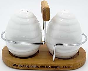 """Christian """"Faith"""" White Ceramic Salt and Pepper Shaker set with Bamboo Holder - 2 Cor. 5:7"""