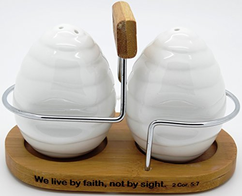 Christian ''Faith'' White Ceramic Salt and Pepper Shaker set with Bamboo Holder - 2 Cor. 5:7 by FEATR