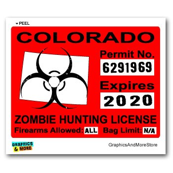 Colorado CO Zombie Hunting License Permit Red - Biohazard Response Team - Window Bumper Locker Sticker