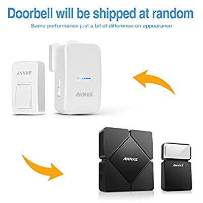 Annke M108 Stylish Battery-Free Wireless Doorbell Energy Saving Portable Door Chime, 1 Receiver & 1 Push Button with Sound , Super Easy Installation (Black)