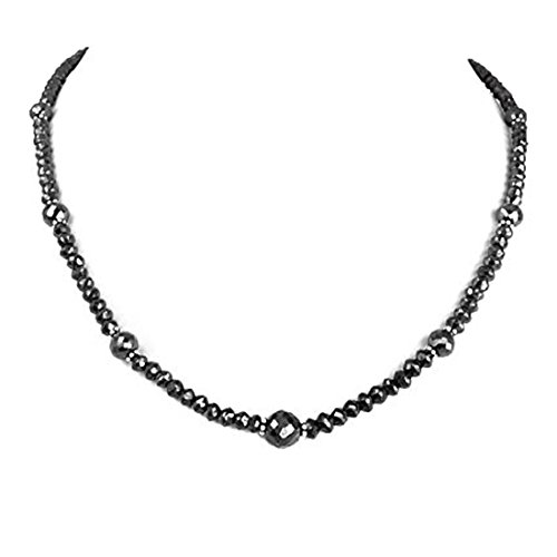 Barishh Certified Black Diamonds Beads Necklace 100 Cts. With 18kt Gold Clasp Free Studs Beautiful by Barishh