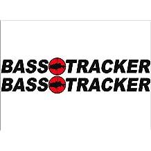 "BLACK / BASS Tracker Boats retro Logo Decal PAIR 5x42"""