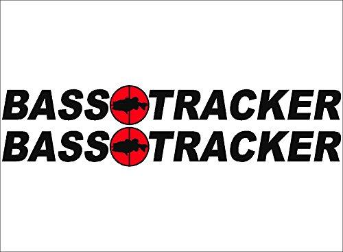 (BLACK / BASS Tracker Boats retro Logo Decal PAIR 5x42