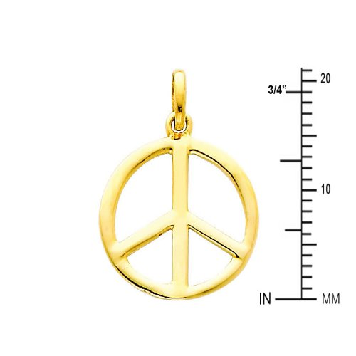 The World Jewelry Center 14k Yellow Gold Peace Sign CZ Pendant with 0.8mm Braided Square Wheat Chain Necklace