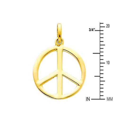 14k Yellow Gold Peace Sign CZ Charm Pendant